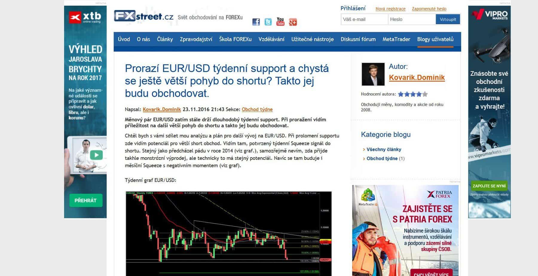 Analýza EUR/USD, kterou jsem psal pro magazín FXstreet.cz se naplnila. Jak to vypadá s EUR/USD dál?