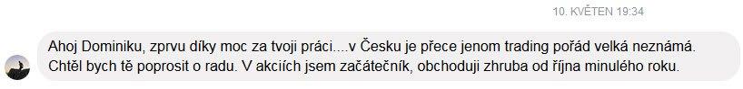 Dominik Kovařík poděkování trading zkušenost