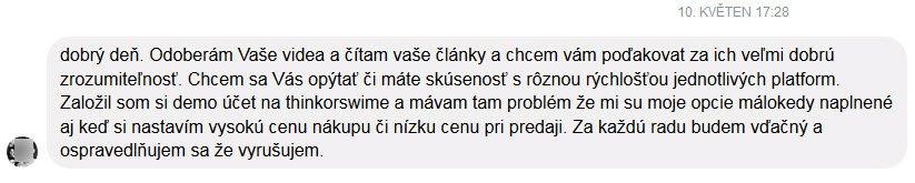 zkušenost Dominik Kovařík trader